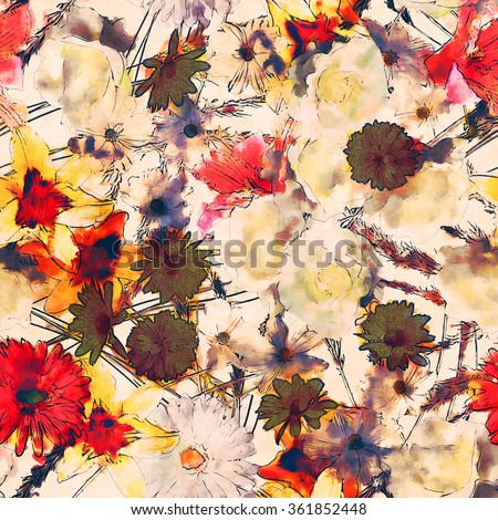art vintage watercolor floral seamless pattern with white, gold yellow and pink red lilies, roses, asters and gerberas on white background - stock photo