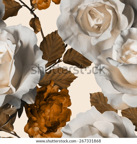 art vintage watercolor floral seamless pattern with white roses and gold brown peonies isolated on white background - stock photo