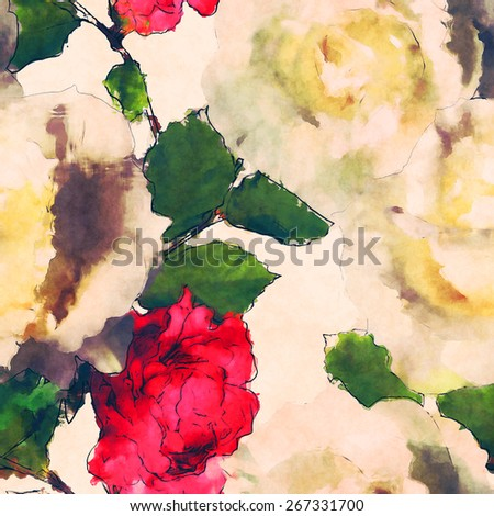 art vintage watercolor floral seamless pattern with white roses and red peonies on light background - stock photo