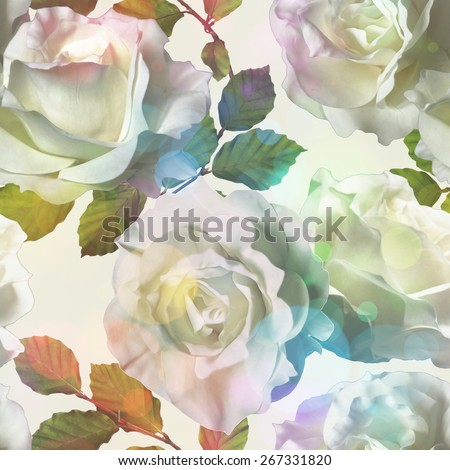 art vintage watercolor floral seamless pattern with white roses isolated on white background with Soft Bokeh - stock photo