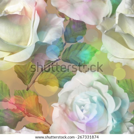 art vintage watercolor floral seamless pattern with white roses on brown background with Soft Bokeh - stock photo
