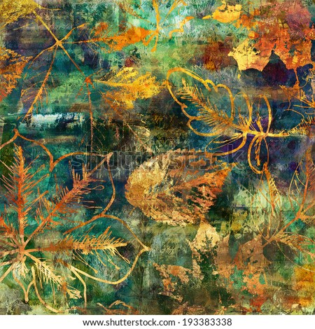 art watercolor and graphic autumn leaves background in green, gold, orange, yellow, blue and brown colors - stock photo