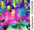 art watercolor and graphic leaves autumn background in pink, blue, black and yellow gold colors with space for text - stock photo