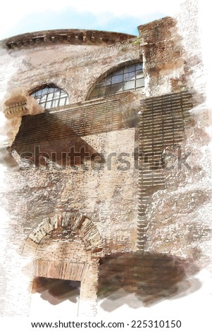 art watercolor background isolated on white basis with european antique town, Italy, Rome. Detail of Pantheon - stock photo
