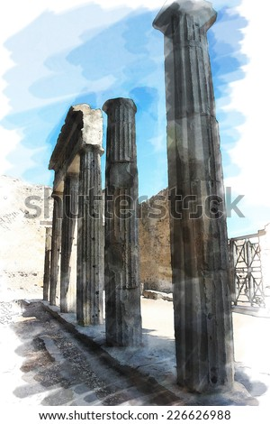 art watercolor background isolated on white basis with european antique town, Pompeii, Italy. Ruins of columns - stock photo