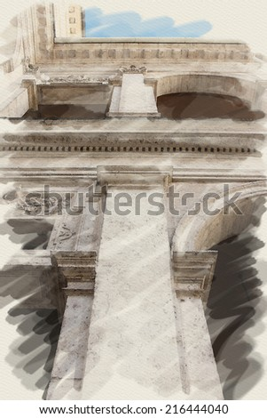 art watercolor background on paper texture with european antique town, Italy, Rome. Detail of classic order, small-caps in patio - stock photo