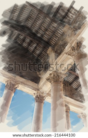 art watercolor background on paper texture with european antique town, Italy, Rome. Details arcade of Pantheon