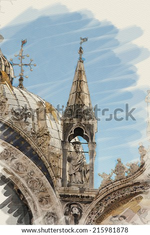 art watercolor background on paper texture with facade of St Mark's basilica in Venice, Italy - stock photo