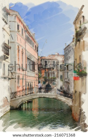 art watercolor background on paper texture with street,  channel and bridge in Venice, Italy - stock photo