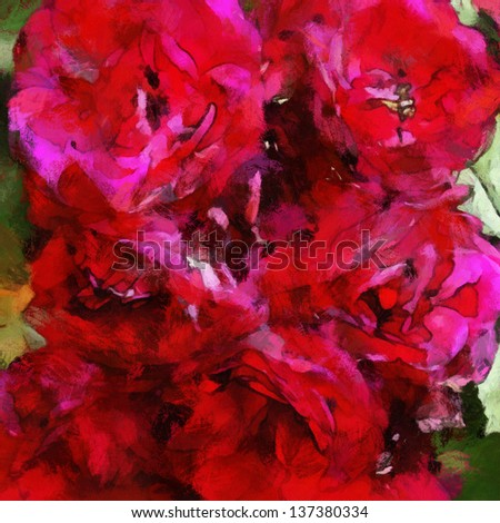 art watercolor background with bright pink red roses