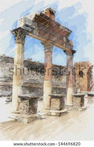 art watercolor background with european antique town, Pompeii, Italy. The classical portico - stock photo