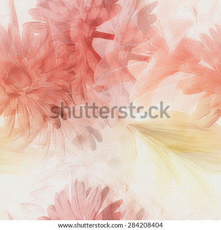 art watercolor blurred vintage floral seamless pattern with white and red gerberas and lilies isolated on white  background - stock photo