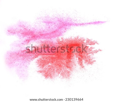 art  watercolor ink paint blob watercolour splash colorful pink, red stain isolated on white background texture
