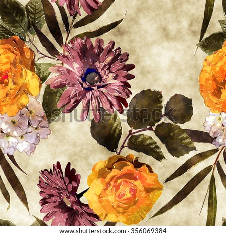 art watercolor vintage floral seamless pattern with gold orange, white and purple roses, asters, phlox and gerbera on beige background