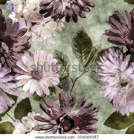 art watercolor vintage floral seamless pattern with purple, lilac, pink and white asters, phlox and gerbera on green background