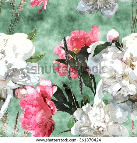 art watercolor vintage floral seamless pattern with white and pink roses and peonies on green background