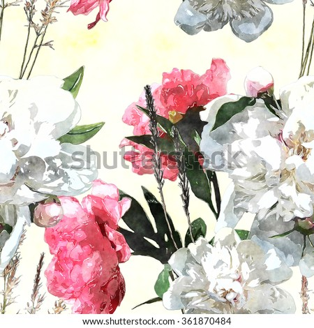 art watercolor vintage floral seamless pattern with white and pink roses and peonies on white background - stock photo