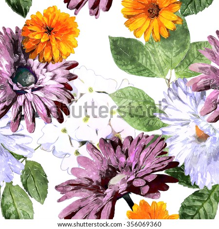 art watercolor vintage floral seamless pattern with white, orange, green and lilac asters, phlox and gerbera on white background
