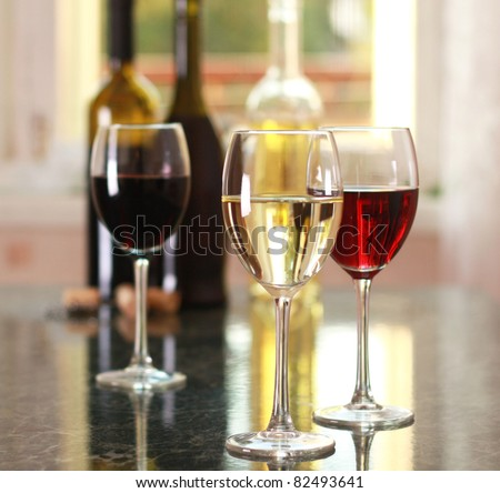 art wine glasses on the table - stock photo