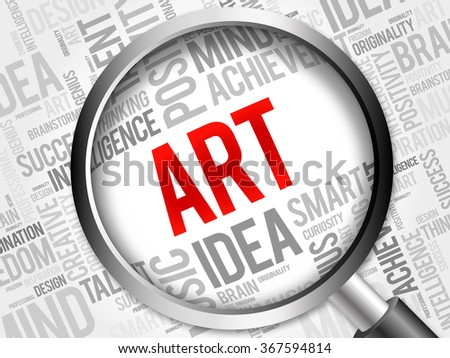 ART word cloud with magnifying glass, background concept - stock photo