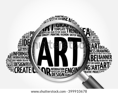 ART word cloud with magnifying glass, business concept - stock photo