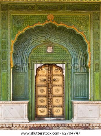Art work Door in City Palace Jaipur, India - stock photo