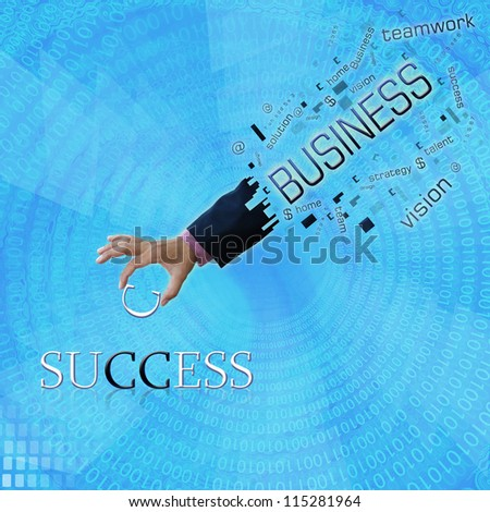art work of business hand with modern background. - stock photo