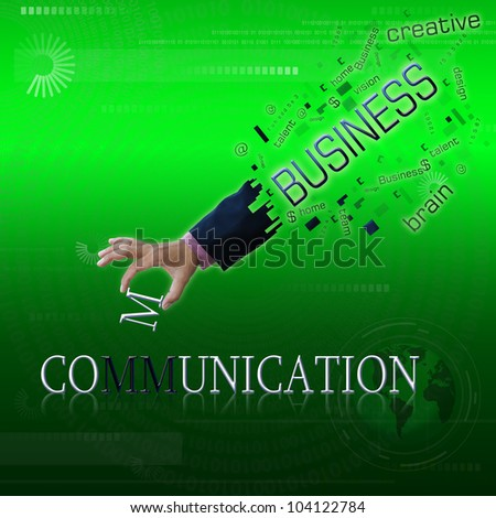 art work of business hand with the business word with modern background. - stock photo