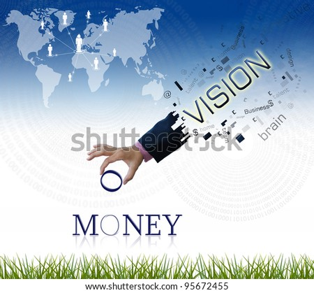 "art work of business hand with the "" money "" word with nature background."