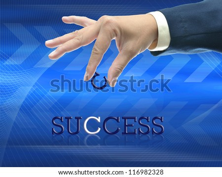 art work of business hand with the word. - stock photo