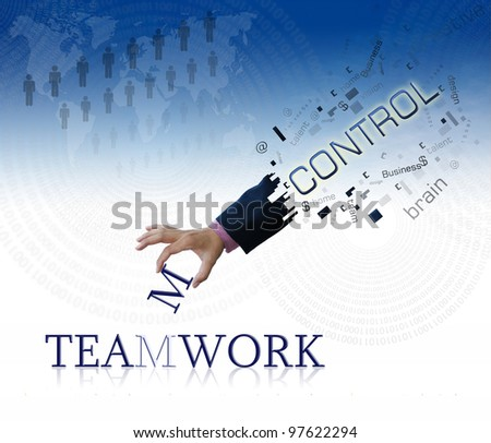 art work of business hand with wording on blue sky background. - stock photo