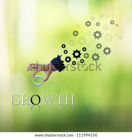 art work of business hand with wording with green abstract background. - stock photo