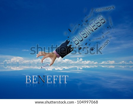 art work of business hand with wording with modern abstract background.