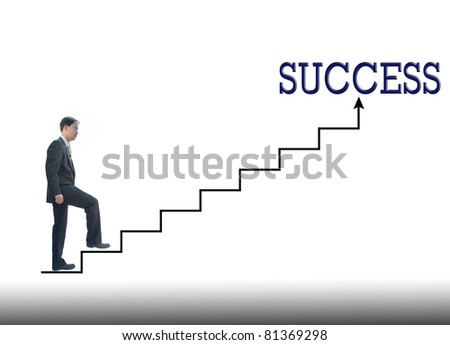 art work of raise idea by business man step up. - stock photo