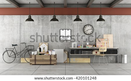 Art workshop in industrial  style with painting tools- 3d rendering - stock photo
