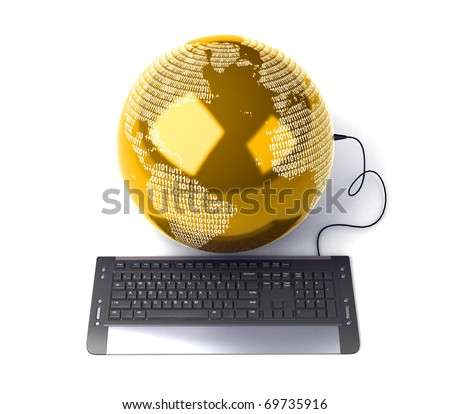 arth Globe connected with computer keyboard - stock photo