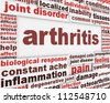 Arthritis disease poster concept. Joint disorder medical message background - stock photo