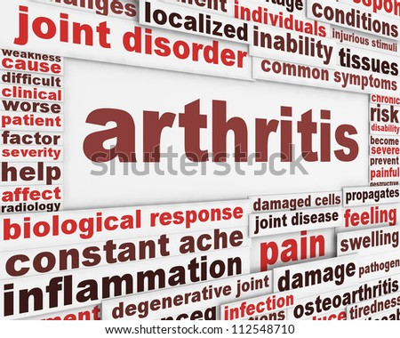 Arthritis disease poster concept. Joint disorder medical message background