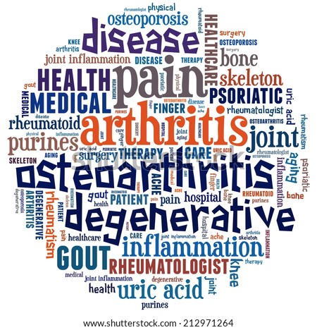 Arthritis in word collage - stock photo