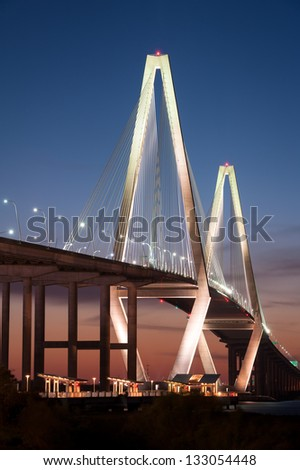 Arthur Ravenel Jr. Cooper River Bridge Charleston South Carolina from Mount Pleasant Memorial Waterfront Park - stock photo
