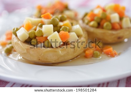 Artichoke hearts stuffed with vegetables. Selective focus - stock photo