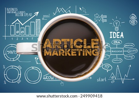 article marketing. coffee mug with business sketches background - stock photo