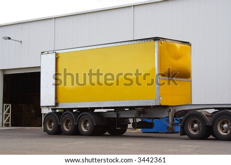 Articulated semi truck trailer - stock photo