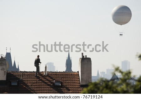 Artificer on the roof, Prague, Czech Republic