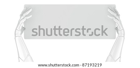 Artificial arms with board - stock photo