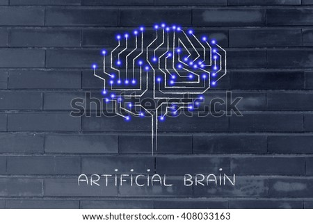 artificial brain: robotic brain made of microchip ciircuits with led lights