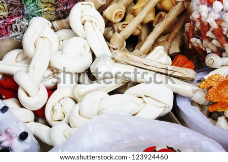 artificial dog bones with two knots the pet delicious - stock photo
