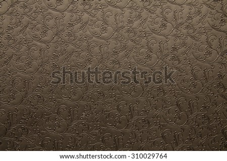 Artificial fabric texture Coyote brown with floral classy pattern