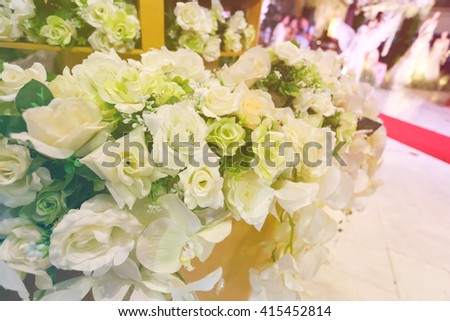 Artificial flower decoration in Wedding ceremony, fill color filter.