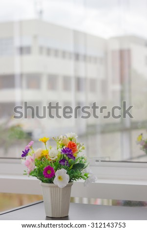 Artificial Flower Vase Next Glass Mirror Stock Photo Royalty Free